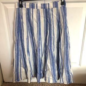 Boden 100% linen blue & white A-line flare skirt